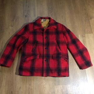 Vintage Red and Black Buffalo Plaid Wool Jacket